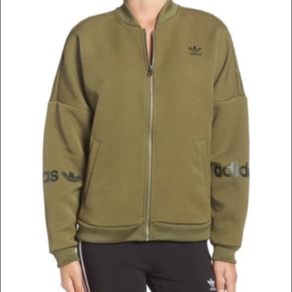 82c650128 Addidas women 3-stripes bomber jacket olive green